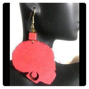 Lady Afro wood earrings